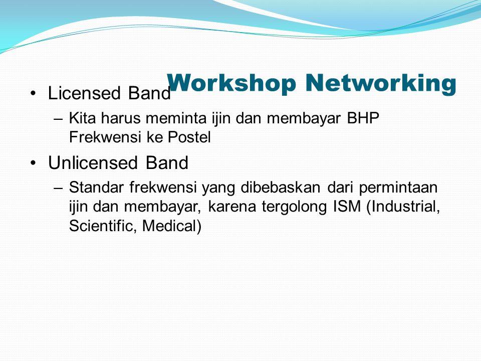 Workshop Networking Licensed Band –Kita harus meminta ijin dan membayar BHP Frekwensi ke Postel Unlicensed Band –Standar frekwensi yang dibebaskan dar