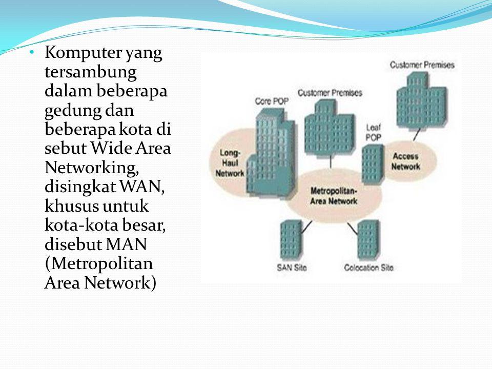 Komputer yang tersambung dalam beberapa gedung dan beberapa kota di sebut Wide Area Networking, disingkat WAN, khusus untuk kota-kota besar, disebut M