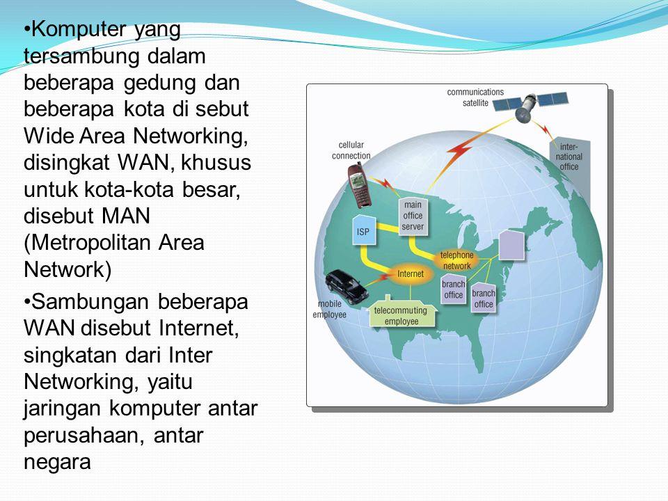 Sambungan beberapa WAN disebut Internet, singkatan dari Inter Networking, yaitu jaringan komputer antar perusahaan, antar negara