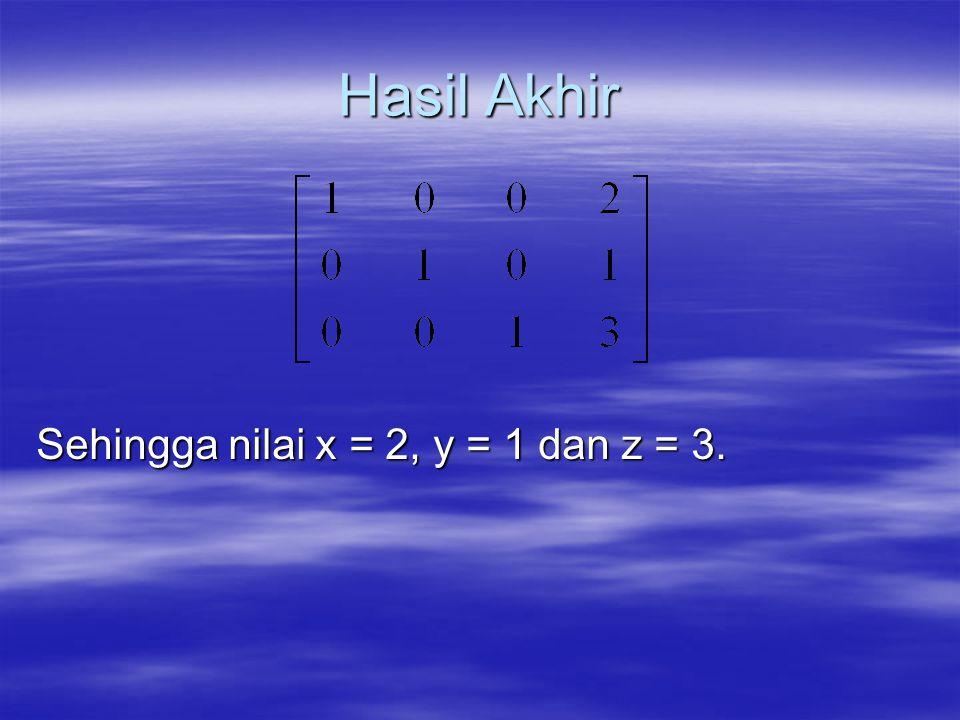 Hasil Akhir Sehingga nilai x = 2, y = 1 dan z = 3.