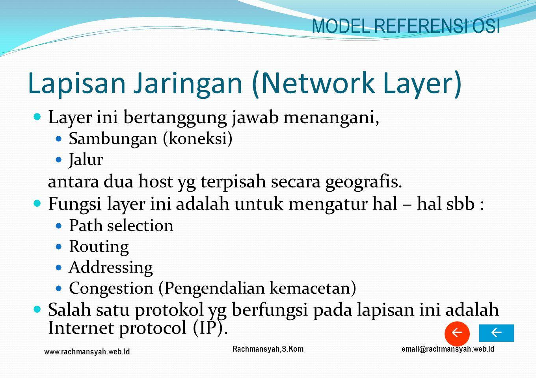 www.rachmansyah.web.id email@rachmansyah.web.idRachmansyah,S.Kom Lapisan Jaringan (Network Layer) Layer ini bertanggung jawab menangani, Sambungan (ko