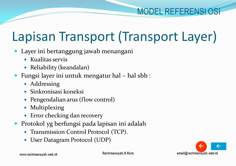 www.rachmansyah.web.id email@rachmansyah.web.idRachmansyah,S.Kom Lapisan Transport (Transport Layer) Layer ini bertanggung jawab menangani Kualitas se