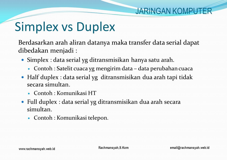 www.rachmansyah.web.id email@rachmansyah.web.idRachmansyah,S.Kom Simplex vs Duplex Berdasarkan arah aliran datanya maka transfer data serial dapat dib