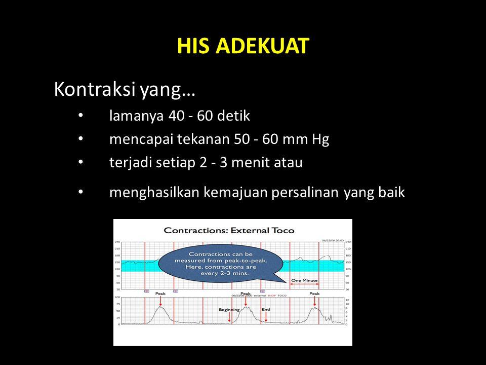 HIS ADEKUAT Kontraksi yang… lamanya 40 - 60 detik mencapai tekanan 50 - 60 mm Hg terjadi setiap 2 - 3 menit atau menghasilkan kemajuan persalinan yang