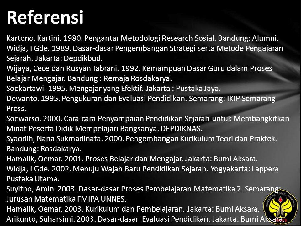 Referensi Kartono, Kartini. 1980. Pengantar Metodologi Research Sosial.