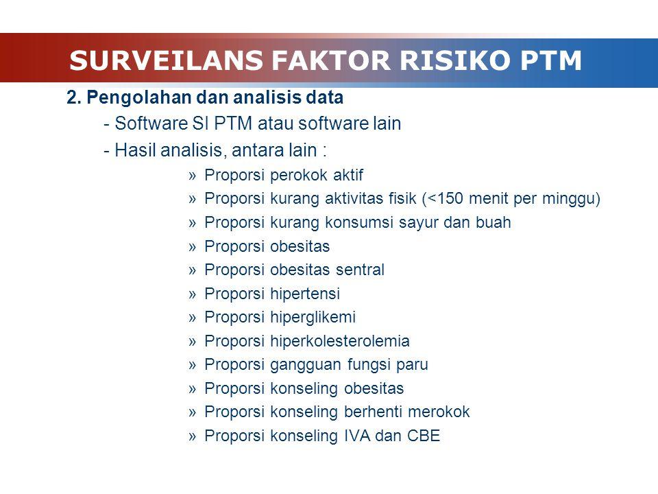  Langkah kegiatan 1. Pengumpulan data »Data primer : »Posbindu PTM (program) »Data sekunder : Survei berkala »Data batasan wilayah, target dan sasarn