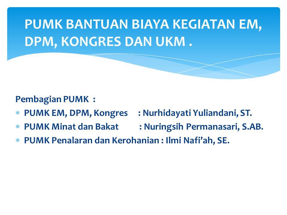 Pembagian PUMK :  PUMK EM, DPM, Kongres : Nurhidayati Yuliandani, ST.  PUMK Minat dan Bakat : Nuringsih Permanasari, S.AB.  PUMK Penalaran dan Kero