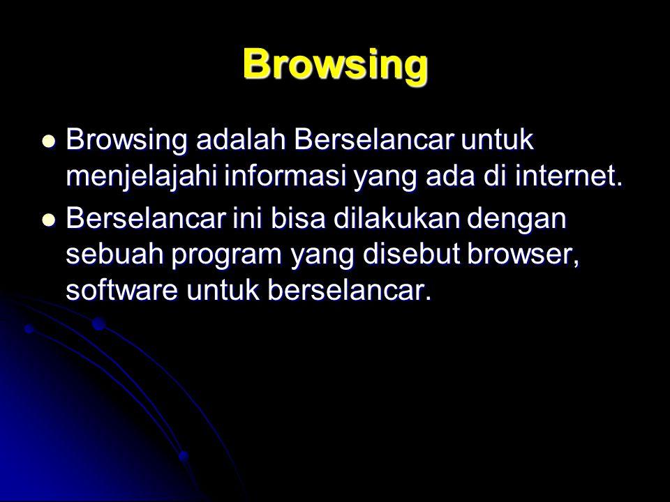Browsing Browsing adalah Berselancar untuk menjelajahi informasi yang ada di internet. Browsing adalah Berselancar untuk menjelajahi informasi yang ad