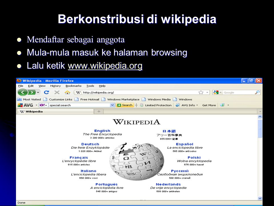Berkonstribusi di wikipedia Mendaftar sebagai anggota Mendaftar sebagai anggota Mula-mula masuk ke halaman browsing Mula-mula masuk ke halaman browsin