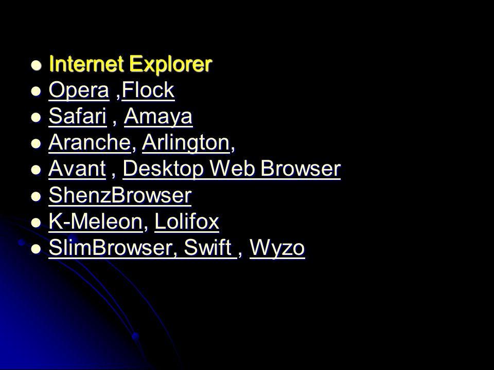 Internet Explorer Internet Explorer Opera,Flock Opera,Flock OperaFlock OperaFlock Safari, Amaya Safari, Amaya SafariAmaya SafariAmaya Aranche, Arlingt