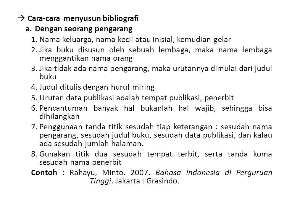  Cara-cara menyusun bibliografi a.Dengan seorang pengarang 1.Nama keluarga, nama kecil atau inisial, kemudian gelar 2.Jika buku disusun oleh sebuah l