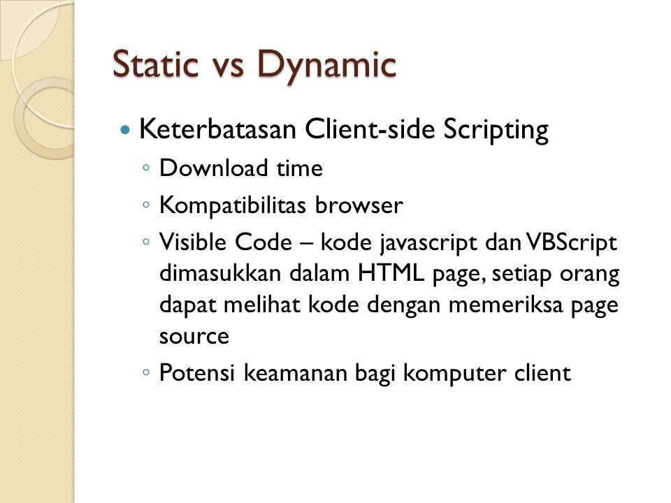 Static vs Dynamic Keterbatasan Client-side Scripting ◦ Download time ◦ Kompatibilitas browser ◦ Visible Code – kode javascript dan VBScript dimasukkan