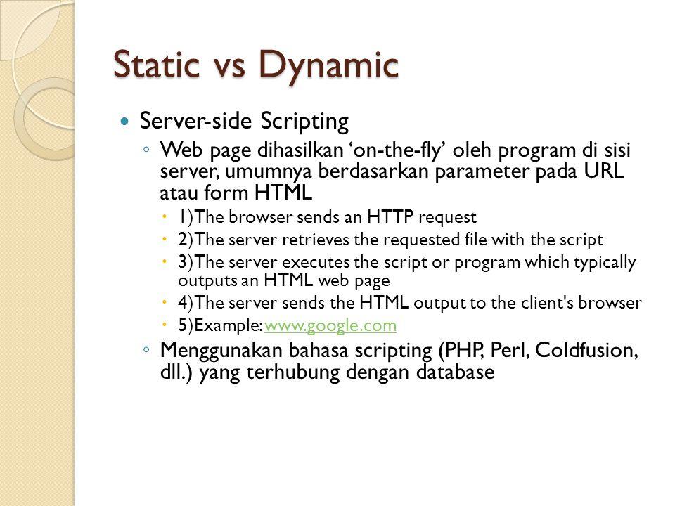 Static vs Dynamic Server-side Scripting ◦ Web page dihasilkan 'on-the-fly' oleh program di sisi server, umumnya berdasarkan parameter pada URL atau fo