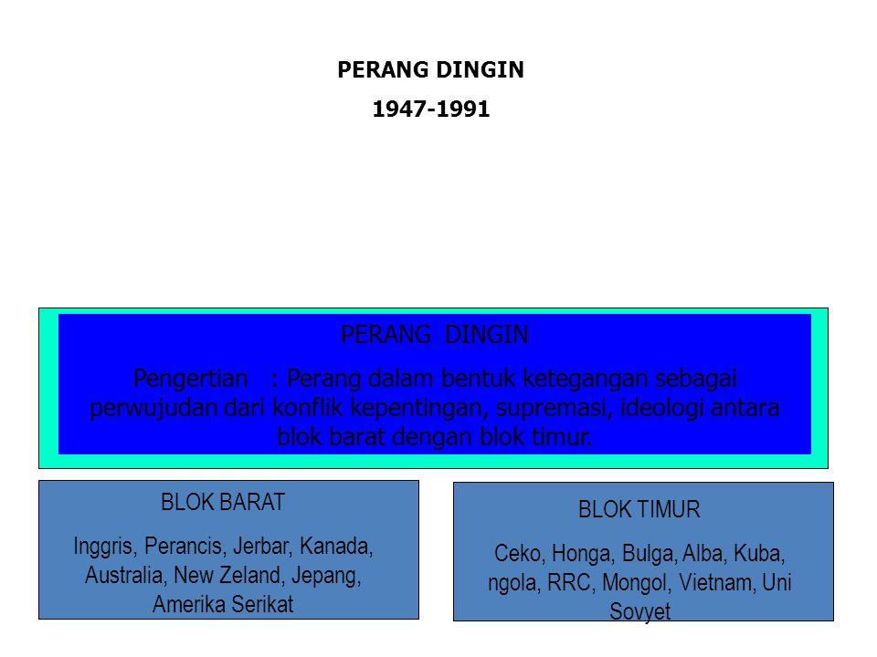 PERANG DINGIN 1947-1991 PERANG DINGIN Pengertian : Perang dalam bentuk ketegangan sebagai perwujudan dari konflik kepentingan, supremasi, ideologi ant