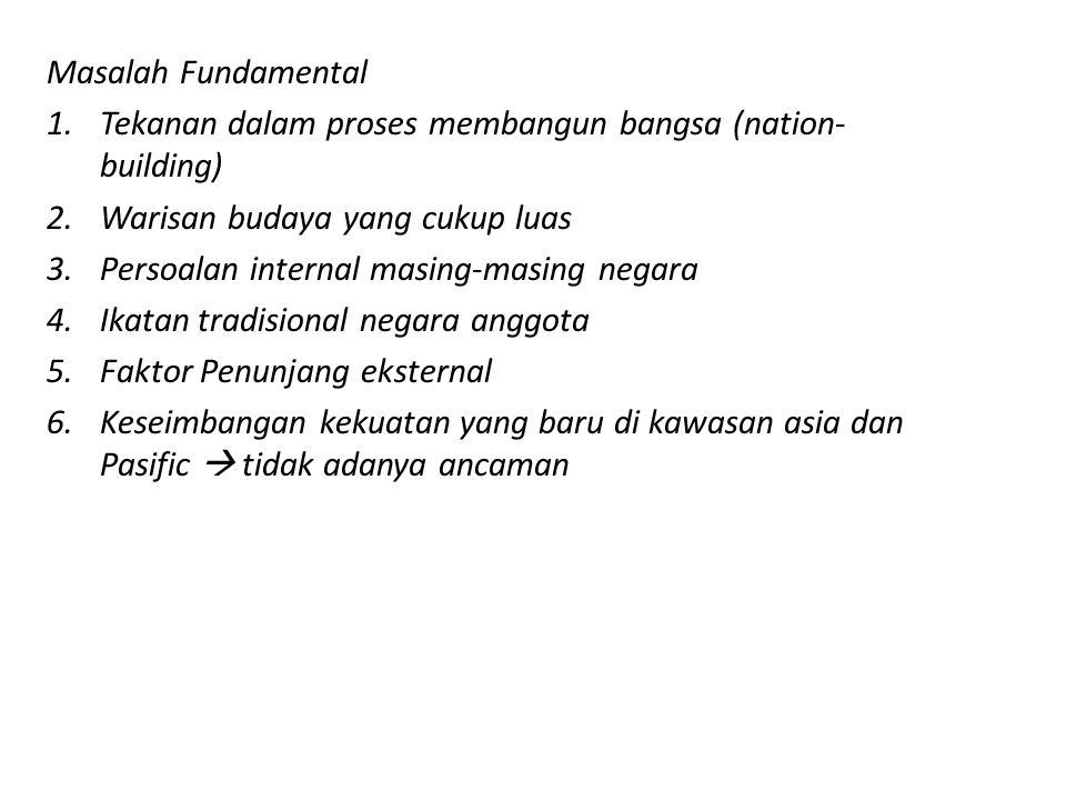 PRINSIP ASEAN = Perjanjian Persahabatan dan Kerjasama (Treaty of Amity and Cooperation) (Bali,1976) : 1.Saling menghormati kemerdekaan,kedaulatan, dan integritas wilayah semua bangsa, 2.Setiap negara berhak memelihara keberadaannya dari campur tangan, subversi, kekerasan dari kekuatan luar, 3.Tidak mencampuri urusan dalam negeri lain, 4.Menyelesaikan perbedaan pendapat dan pertikaian dengan jalan damai, 5.Menolak ancaman penggunaan kekerasan
