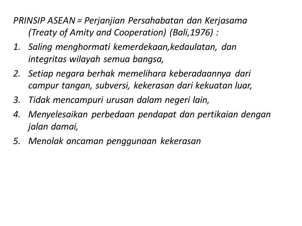 PRINSIP ASEAN = Perjanjian Persahabatan dan Kerjasama (Treaty of Amity and Cooperation) (Bali,1976) : 1.Saling menghormati kemerdekaan,kedaulatan, dan