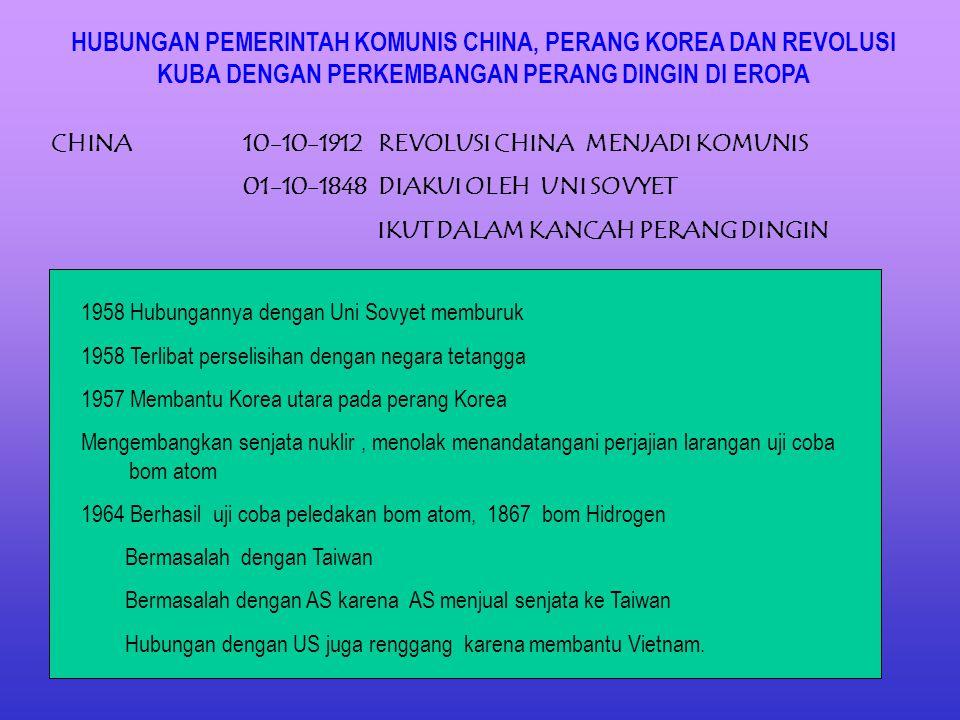 HUBUNGAN PEMERINTAH KOMUNIS CHINA, PERANG KOREA DAN REVOLUSI KUBA DENGAN PERKEMBANGAN PERANG DINGIN DI EROPA CHINA10-10-1912 REVOLUSI CHINA MENJADI KOMUNIS 01-10-1848 DIAKUI OLEH UNI SOVYET IKUT DALAM KANCAH PERANG DINGIN 1958 Hubungannya dengan Uni Sovyet memburuk 1958 Terlibat perselisihan dengan negara tetangga 1957 Membantu Korea utara pada perang Korea Mengembangkan senjata nuklir, menolak menandatangani perjajian larangan uji coba bom atom 1964 Berhasil uji coba peledakan bom atom, 1867 bom Hidrogen Bermasalah dengan Taiwan Bermasalah dengan AS karena AS menjual senjata ke Taiwan Hubungan dengan US juga renggang karena membantu Vietnam.