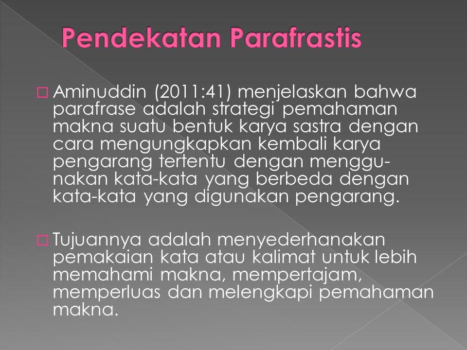  Aminuddin (2011:41) menjelaskan bahwa parafrase adalah strategi pemahaman makna suatu bentuk karya sastra dengan cara mengungkapkan kembali karya pe