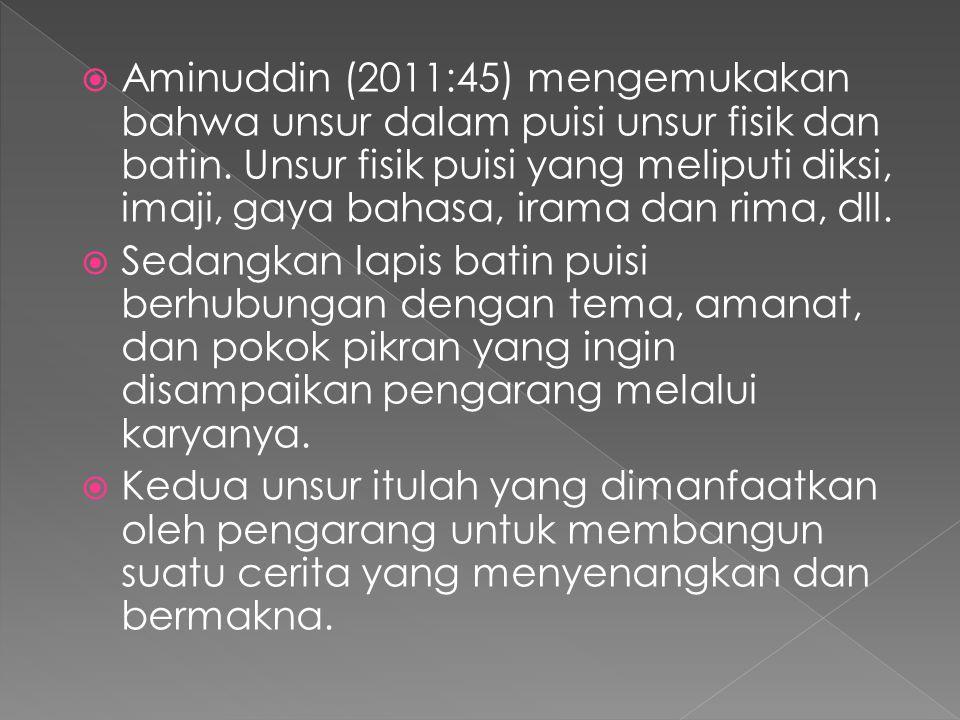  Aminuddin (2011:45) mengemukakan bahwa unsur dalam puisi unsur fisik dan batin. Unsur fisik puisi yang meliputi diksi, imaji, gaya bahasa, irama dan