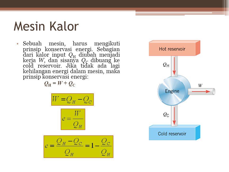 Mesin Kalor Sebuah mesin, harus mengikuti prinsip konservasi energi.