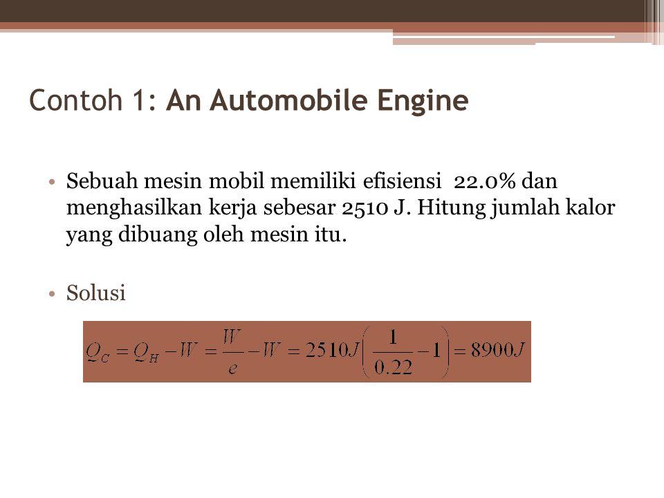 Contoh 1: An Automobile Engine Sebuah mesin mobil memiliki efisiensi 22.0% dan menghasilkan kerja sebesar 2510 J.