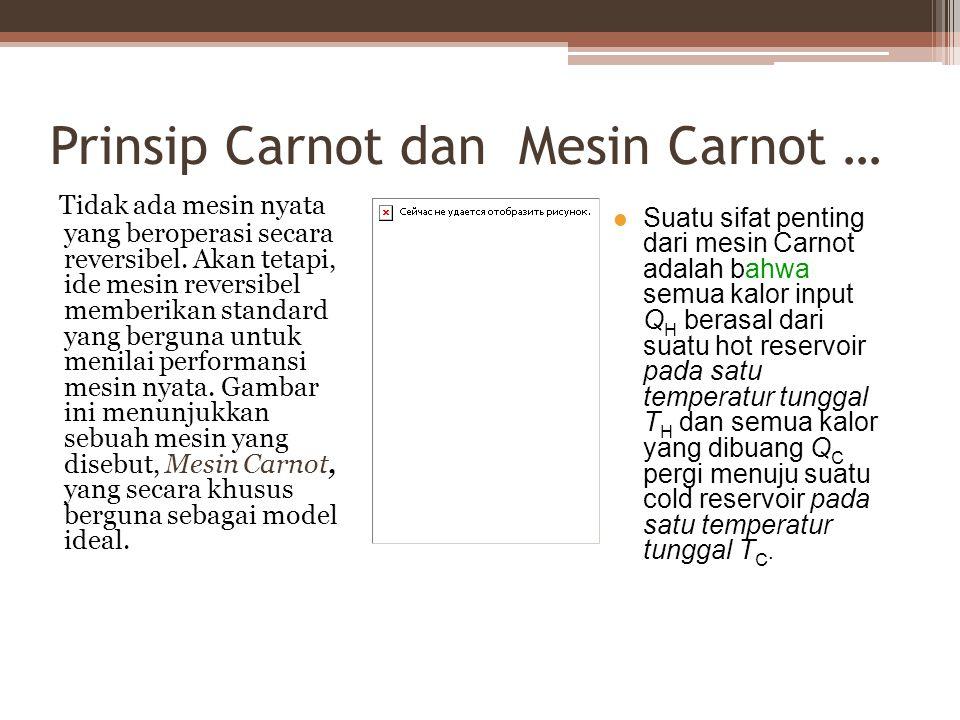Prinsip Carnot dan Mesin Carnot … Tidak ada mesin nyata yang beroperasi secara reversibel.