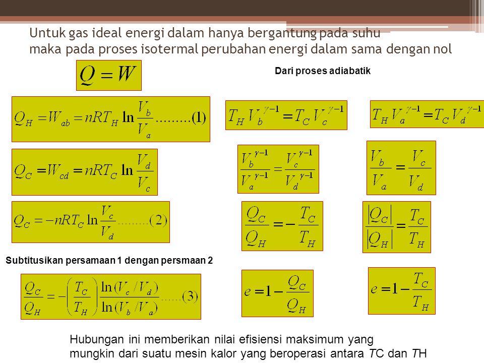 Untuk gas ideal energi dalam hanya bergantung pada suhu maka pada proses isotermal perubahan energi dalam sama dengan nol Subtitusikan persamaan 1 dengan persmaan 2 Dari proses adiabatik Hubungan ini memberikan nilai efisiensi maksimum yang mungkin dari suatu mesin kalor yang beroperasi antara TC dan TH