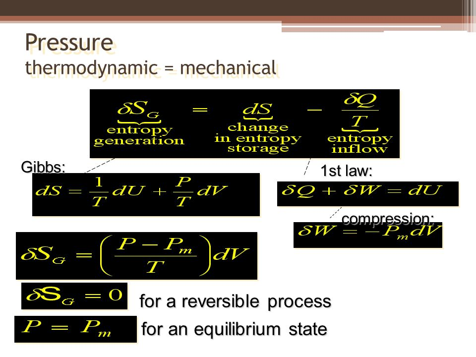 Pressure thermodynamic = mechanical Gibbs: 1st law: for a reversible process for an equilibrium state compression: