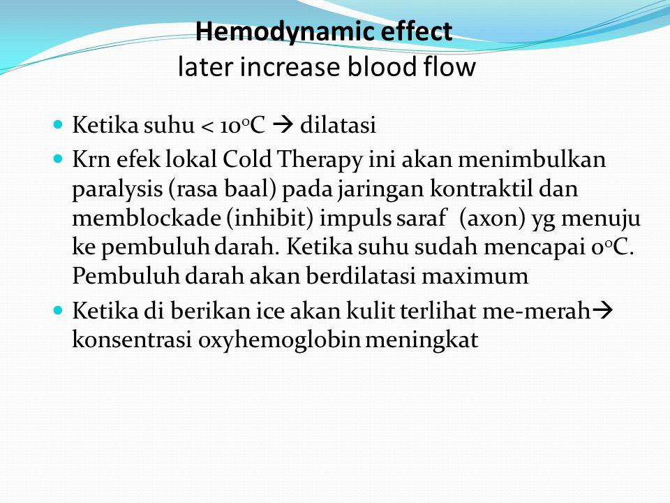 Hemodynamic effect later increase blood flow Ketika suhu < 10 o C  dilatasi Krn efek lokal Cold Therapy ini akan menimbulkan paralysis (rasa baal) pa