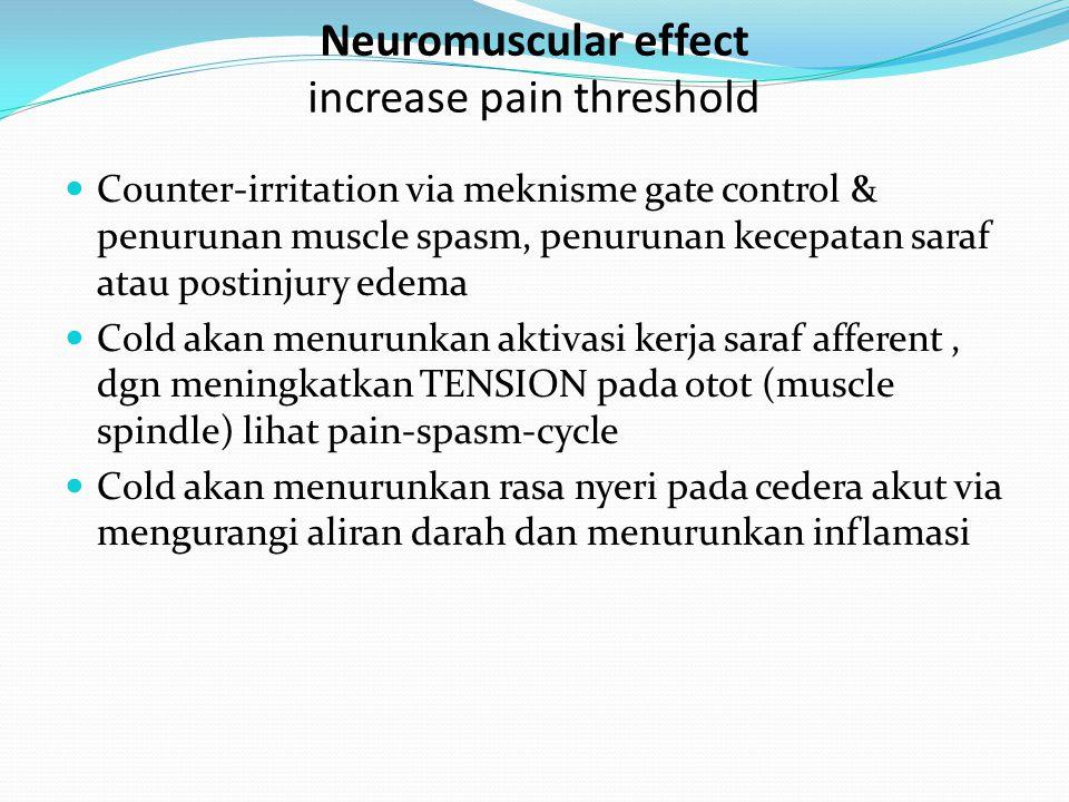 Counter-irritation via meknisme gate control & penurunan muscle spasm, penurunan kecepatan saraf atau postinjury edema Cold akan menurunkan aktivasi k