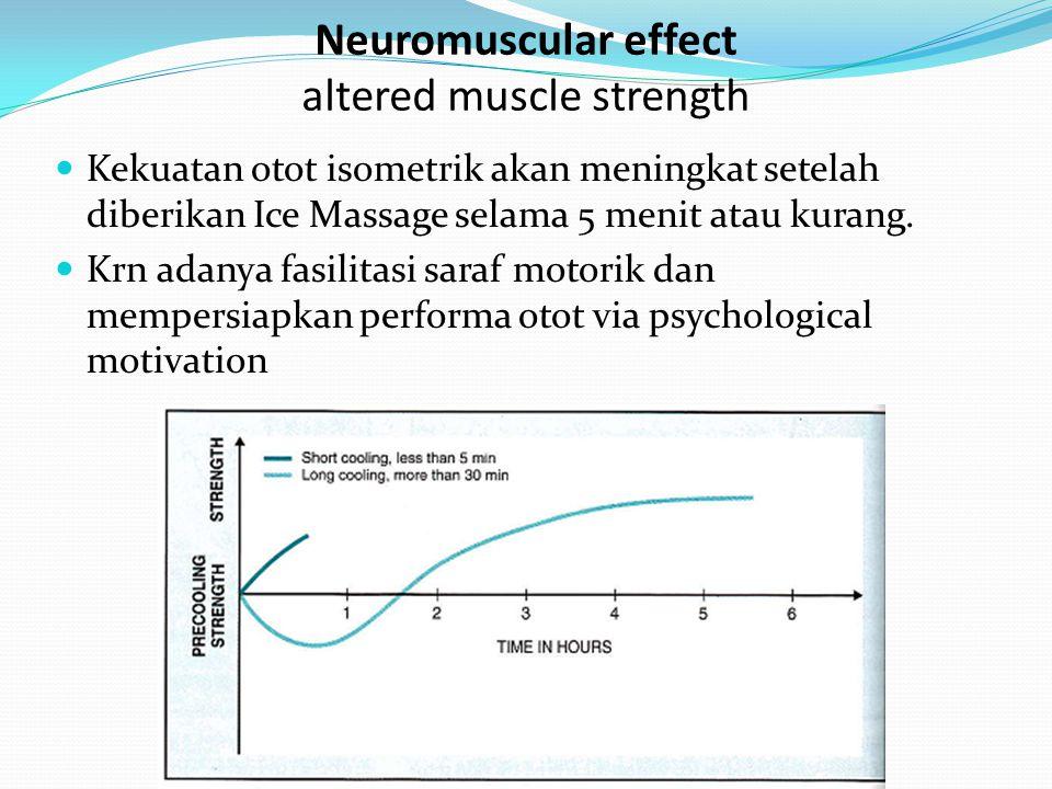 Kekuatan otot isometrik akan meningkat setelah diberikan Ice Massage selama 5 menit atau kurang. Krn adanya fasilitasi saraf motorik dan mempersiapkan