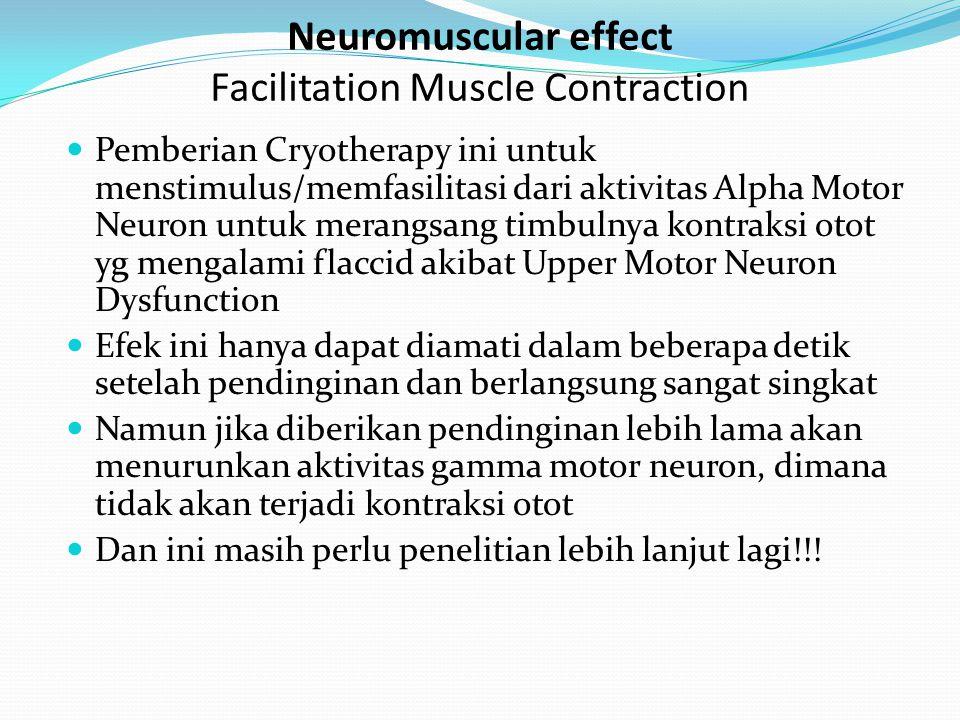 Pendinginan akan mengurangi dari aktivitas metabolisme lokal pada area yg di terapi Hal ini berkaitan dgn adanya inflamasi dan pemulihan Oleh karena itu, cold therapy cocok dalam menangani inflamasi akut Dan tidak cocok untuk menangani proses penyembuhan yg terlambat, krn dapat menggangu proses pemulihannya Aktivitas enzim perusak cartilage, termasuk kolagen, elastase, hyaluronidase, dan protease, dapat dihambat dengan menurunkan suhu sendi, 30 o C atau kurang Oleh krn hal tersebut di atas, cold therapy bisa digunakan untuk prevention atau mengurangi kerusakan kolagen pada kasus radang sendi seperti Ostheoarthritis & Reumathoid desease Metabolic effect Decrease Metabolic Effect
