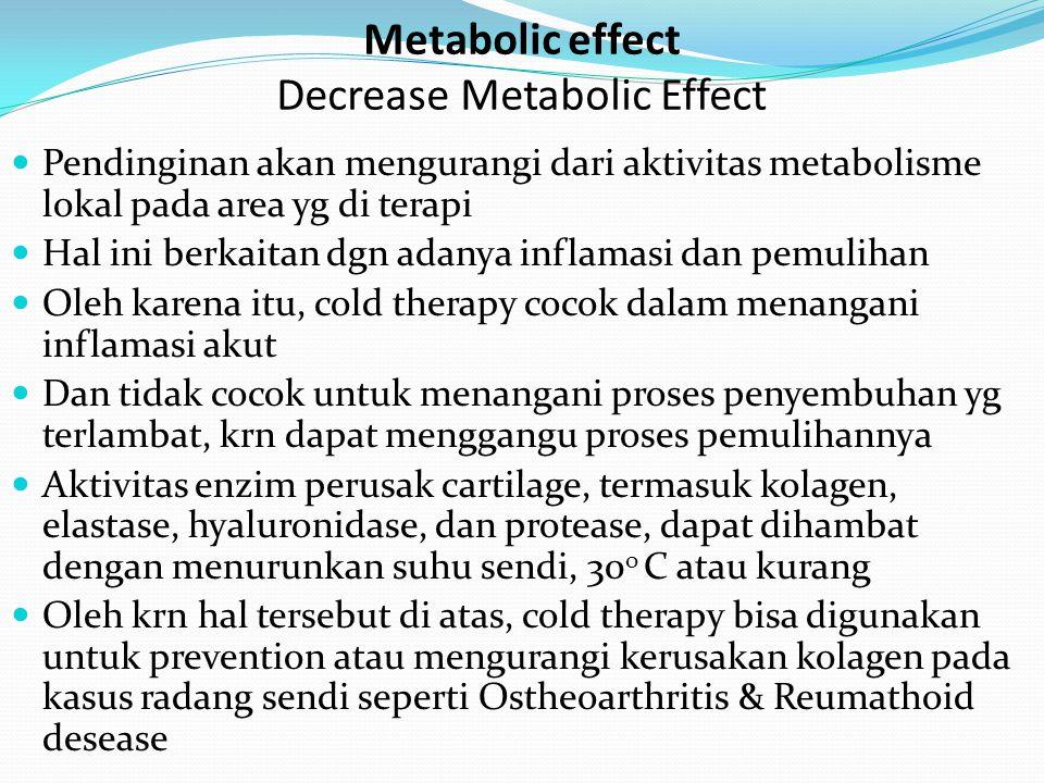 Pendinginan akan mengurangi dari aktivitas metabolisme lokal pada area yg di terapi Hal ini berkaitan dgn adanya inflamasi dan pemulihan Oleh karena i