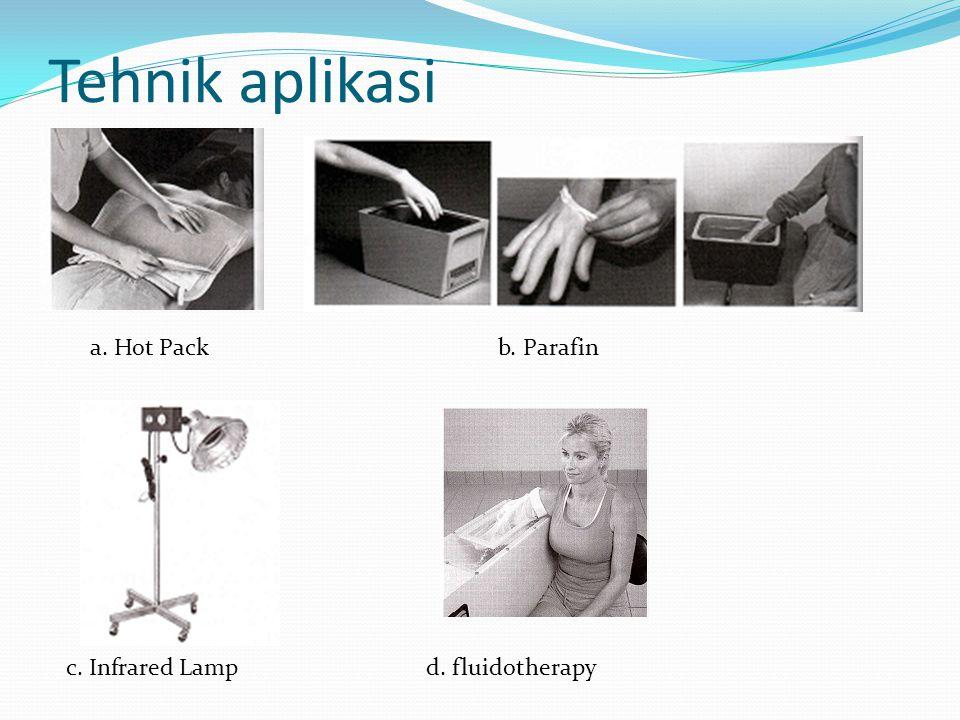 Tehnik aplikasi a. Hot Packb. Parafin c. Infrared Lampd. fluidotherapy