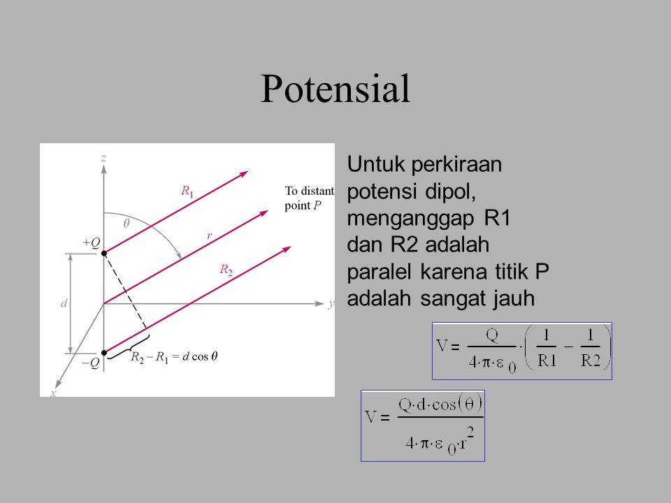 6 BEDA POTENSIAL DI DALAM MEDAN LISTRIK HOMOGEN d AB E Jika q o bergerak dari A ke B : V B < V A Muatan positip energi potensialnya berkurang, dipercepat ke kanan.