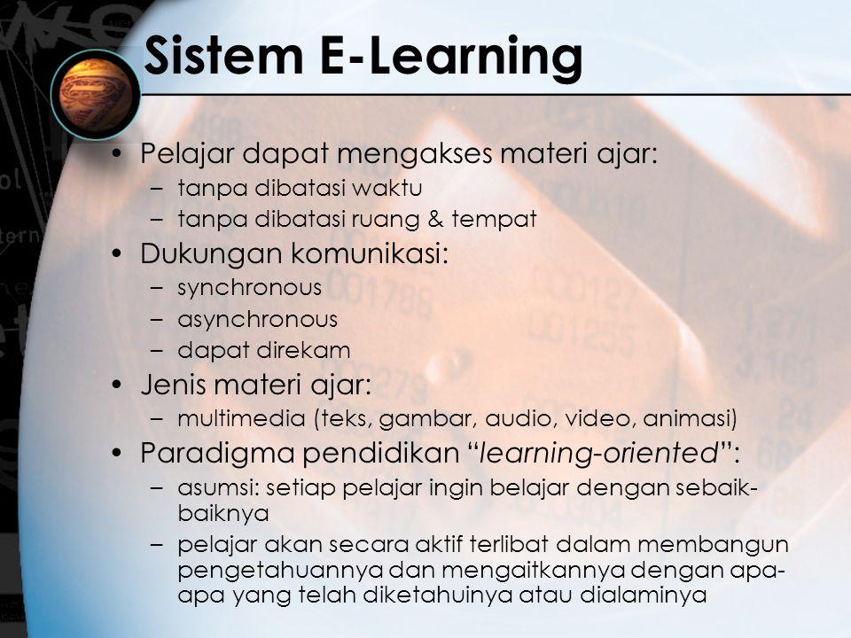 Sistem E-Learning Pelajar dapat mengakses materi ajar: –tanpa dibatasi waktu –tanpa dibatasi ruang & tempat Dukungan komunikasi: –synchronous –asynchr
