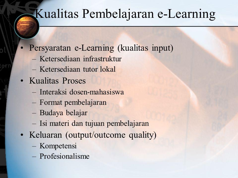 Kualitas Pembelajaran e-Learning Persyaratan e-Learning (kualitas input) –Ketersediaan infrastruktur –Ketersediaan tutor lokal Kualitas Proses –Intera