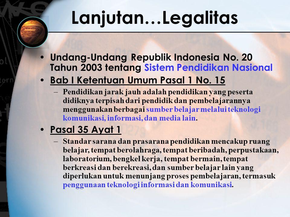 Lanjutan…Legalitas Undang-Undang Republik Indonesia No. 20 Tahun 2003 tentang Sistem Pendidikan Nasional Bab I Ketentuan Umum Pasal 1 No. 15 –Pendidik