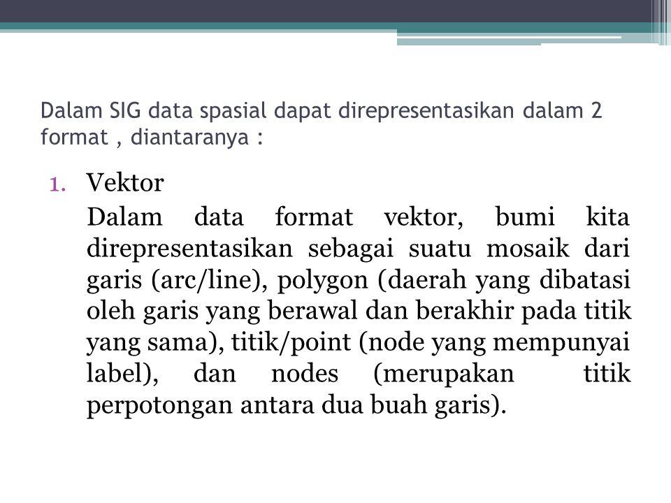 Dalam SIG data spasial dapat direpresentasikan dalam 2 format, diantaranya : 1.Vektor Dalam data format vektor, bumi kita direpresentasikan sebagai su