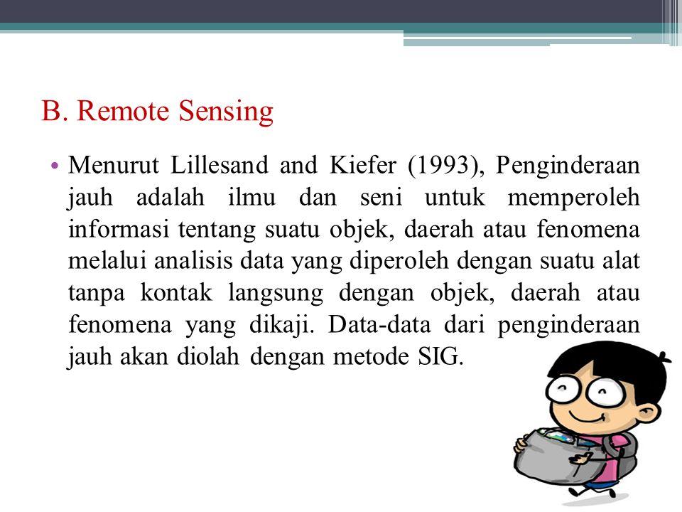B. Remote Sensing Menurut Lillesand and Kiefer (1993), Penginderaan jauh adalah ilmu dan seni untuk memperoleh informasi tentang suatu objek, daerah a