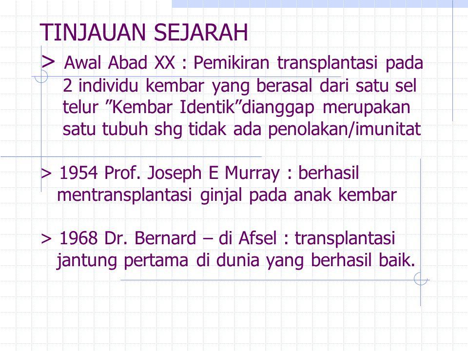 "TINJAUAN SEJARAH > Awal Abad XX : Pemikiran transplantasi pada 2 individu kembar yang berasal dari satu sel telur ""Kembar Identik""dianggap merupakan s"