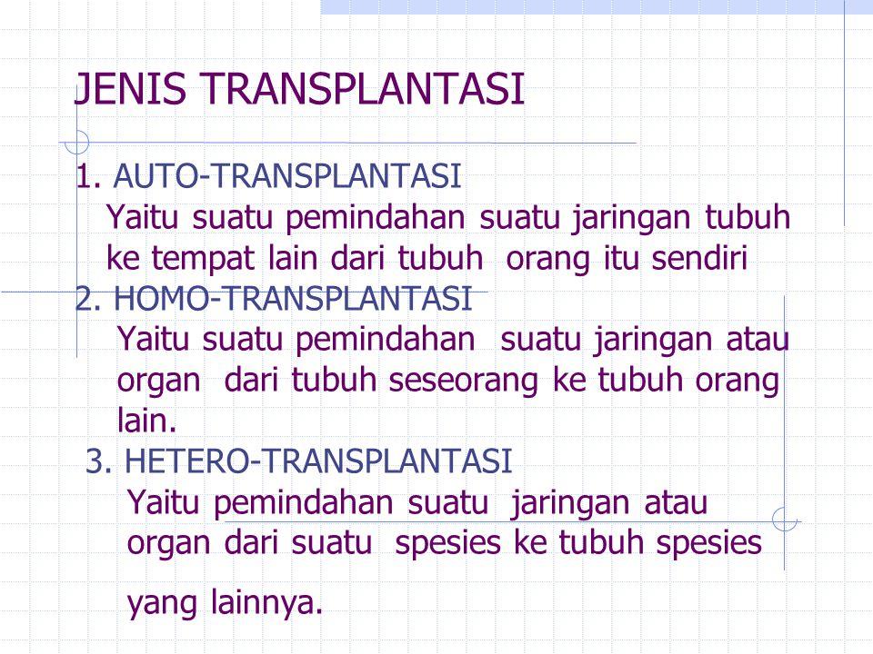 JENIS TRANSPLANTASI 1. AUTO-TRANSPLANTASI Yaitu suatu pemindahan suatu jaringan tubuh ke tempat lain dari tubuh orang itu sendiri 2. HOMO-TRANSPLANTAS