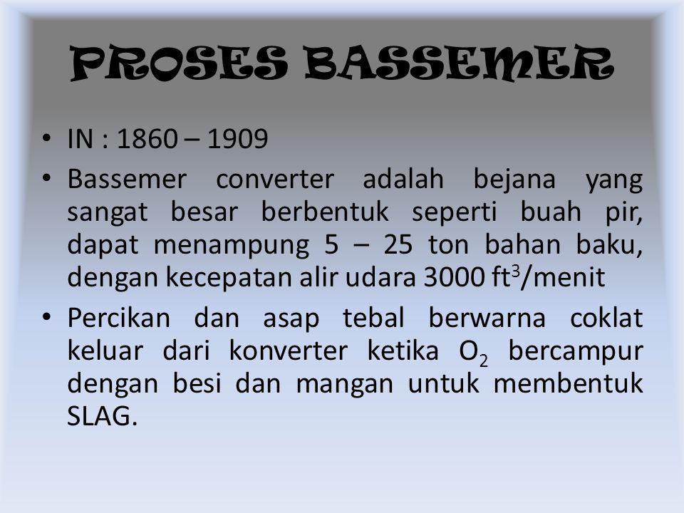 IN : 1860 – 1909 Bassemer converter adalah bejana yang sangat besar berbentuk seperti buah pir, dapat menampung 5 – 25 ton bahan baku, dengan kecepata
