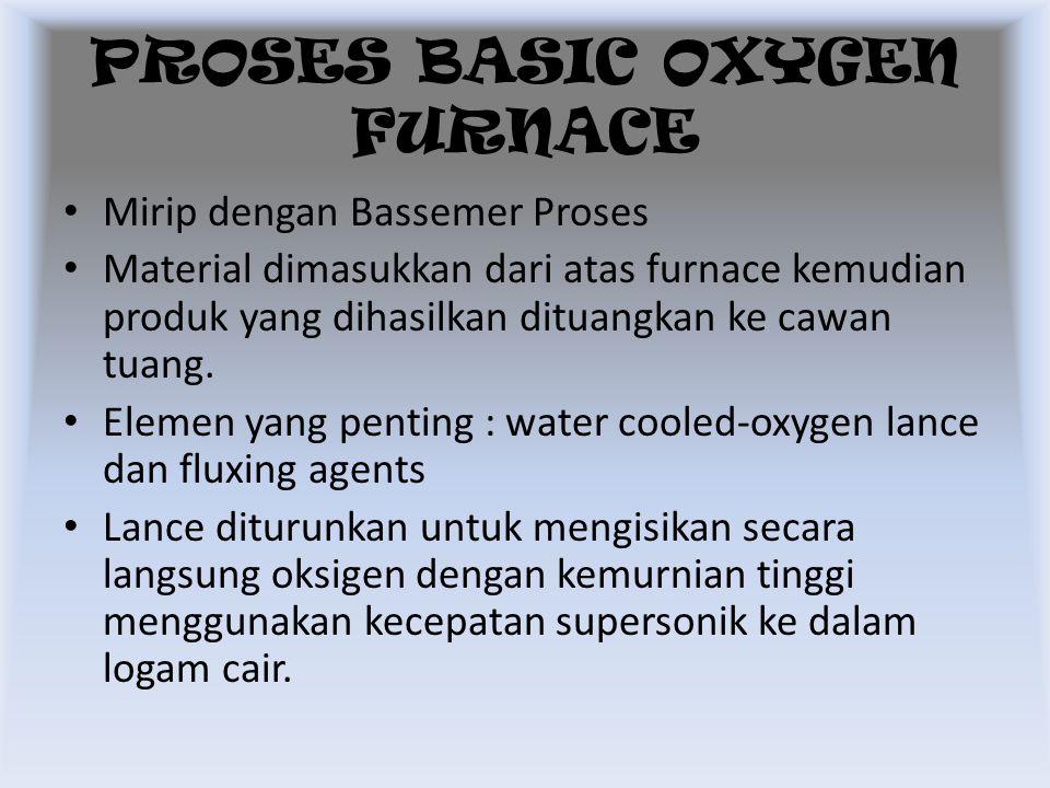 Mirip dengan Bassemer Proses Material dimasukkan dari atas furnace kemudian produk yang dihasilkan dituangkan ke cawan tuang. Elemen yang penting : wa