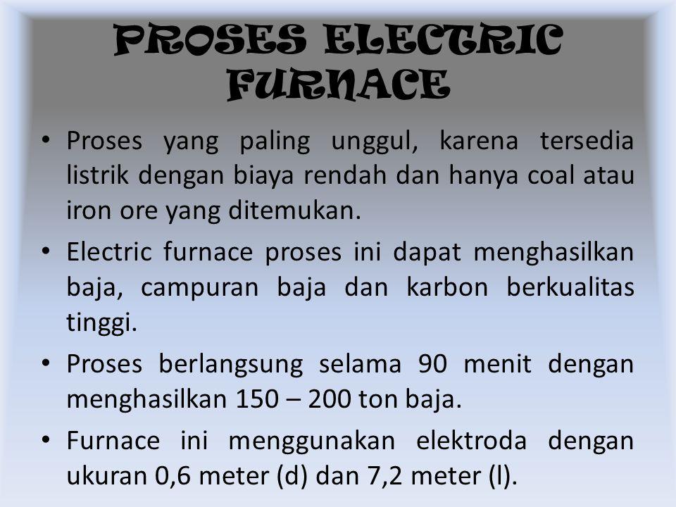 Proses yang paling unggul, karena tersedia listrik dengan biaya rendah dan hanya coal atau iron ore yang ditemukan. Electric furnace proses ini dapat