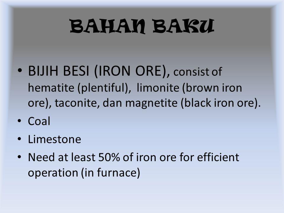 BIJIH BESI (IRON ORE), consist of hematite (plentiful), limonite (brown iron ore), taconite, dan magnetite (black iron ore). Coal Limestone Need at le
