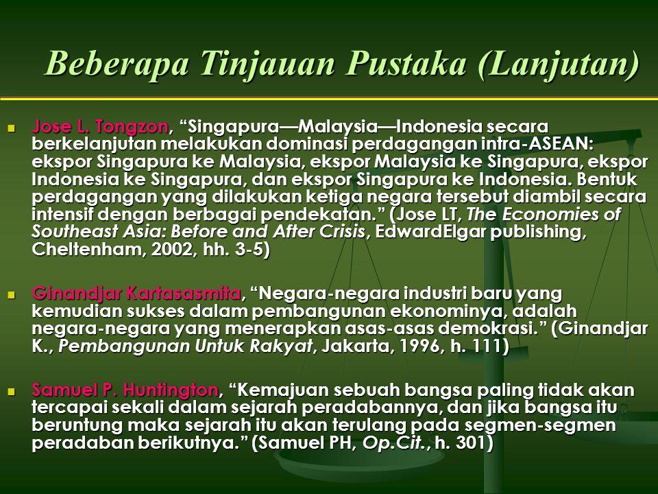 """Beberapa Tinjauan Pustaka (Lanjutan) Jose L. Tongzon, """"Singapura—Malaysia—Indonesia secara berkelanjutan melakukan dominasi perdagangan intra-ASEAN: e"""