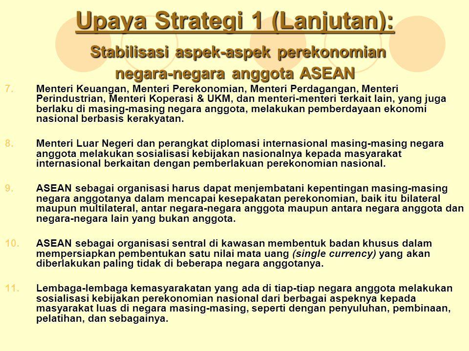 Upaya Strategi 1 (Lanjutan): Stabilisasi aspek-aspek perekonomian negara-negara anggota ASEAN 7.Menteri Keuangan, Menteri Perekonomian, Menteri Perdag