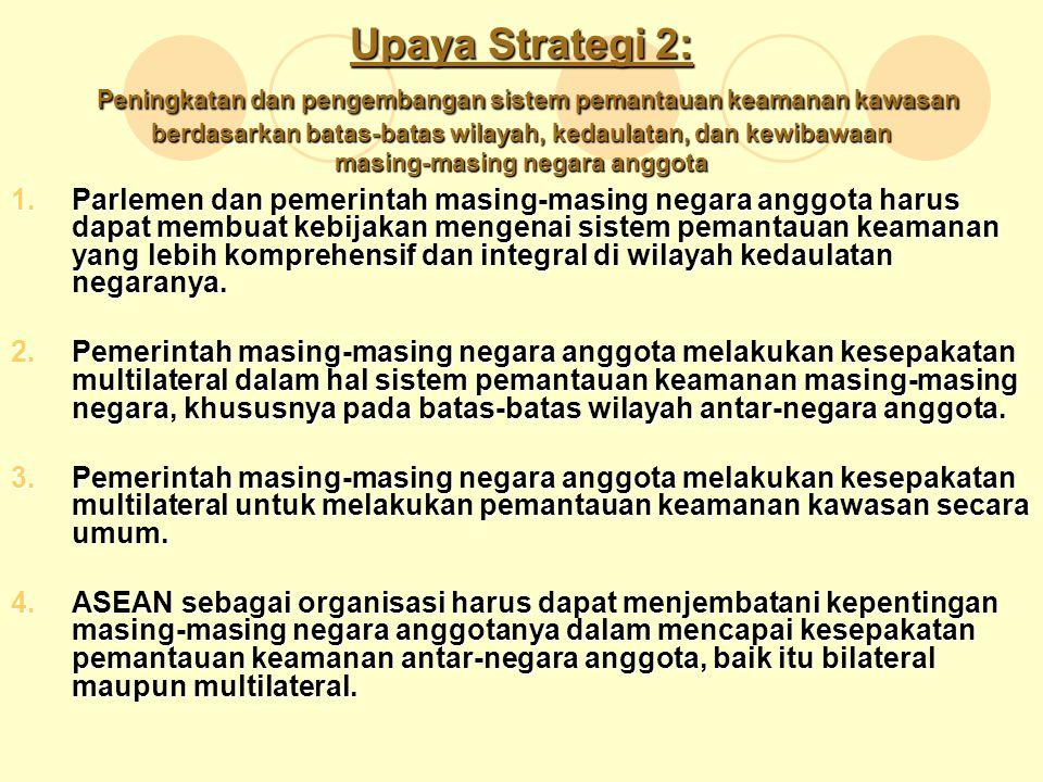Upaya Strategi 2: Peningkatan dan pengembangan sistem pemantauan keamanan kawasan berdasarkan batas-batas wilayah, kedaulatan, dan kewibawaan masing-m