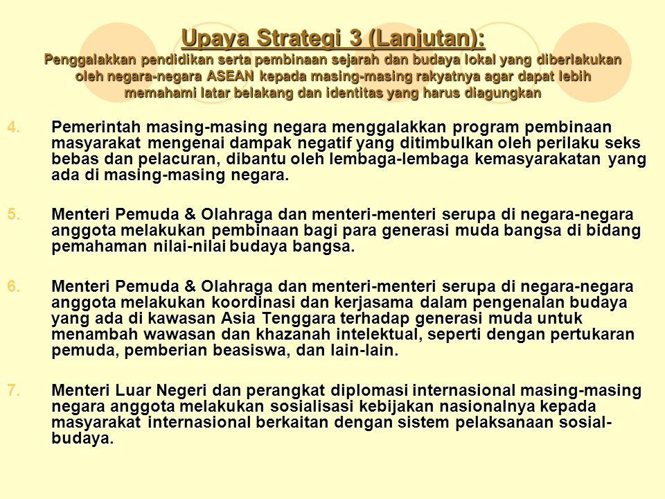 Upaya Strategi 3 (Lanjutan): Penggalakkan pendidikan serta pembinaan sejarah dan budaya lokal yang diberlakukan oleh negara-negara ASEAN kepada masing